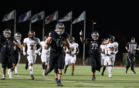 Senior Tommy Hartman runs towards the end zone scoring his first Viper touchdown against Hutto.