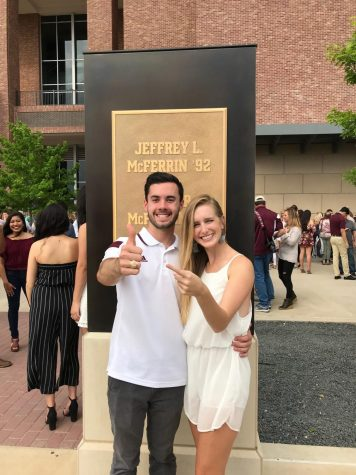 Vandegrift Alumni, Alex Lutz, poses for a picture with Elise Lutz after receiving his Aggie ring.