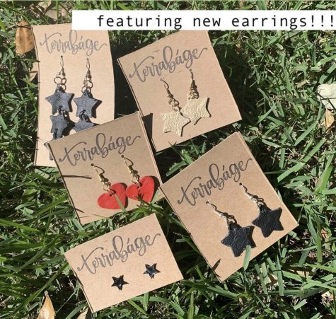 "Earrings made out of reusable leathers, ""sustainable jewelry with a purpose"" Terrabage said."