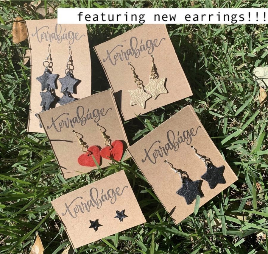 Earrings+made+out+of+reusable+leathers%2C+%22sustainable+jewelry+with+a+purpose%22+Terrabage+said.+