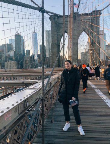 Gabriella Gaida having fun and posing on a chilly day in New York City.