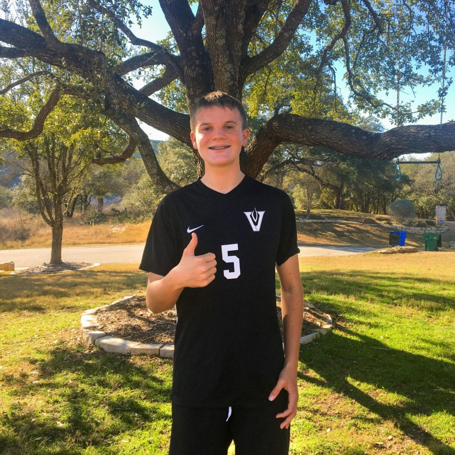 Freshman and JV A captain Rory Jacops gives a thumbs up while sporting his soccer uniform.