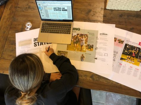 Senior yearbook co-editor Vicky Guerrero editing proofs while using Balfour's StudioWorks