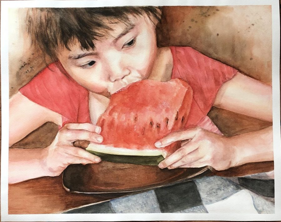 Junior Grace Parks painted a watercolor painting titled
