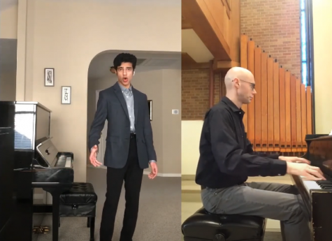 Akash Shah, sophomore and one of the solo contest winners, sings beside a video of his accompanist, Austin Haller.