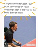 Head wrestling coach at Vandegrift recieved Texas wreslting coach of the year.