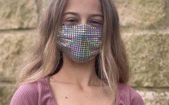 Freshman Saffron Brunner wears her own face mask that she sewed.