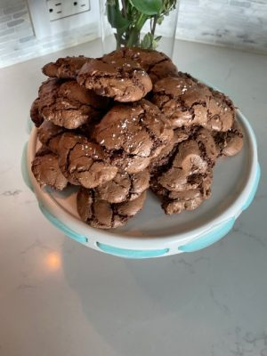 The final product of my salted brownie cookies.