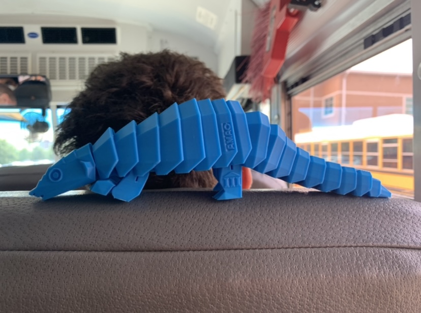 A 3D printed pangolin printed by Victoria Chen (president of the 3D printing club)
